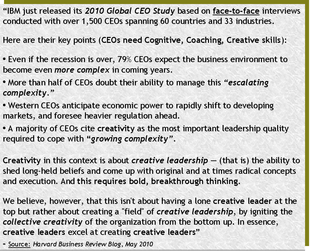 CEOs executives, managers, management professionals and entrepreneurs need very strong cognitive, coaching and creative leadership skills for Imagination Age Leadership Power